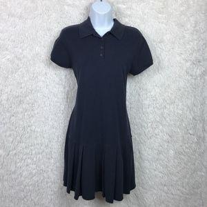 Talbots Navy Blue Polo Dress Drop Waist Pleated